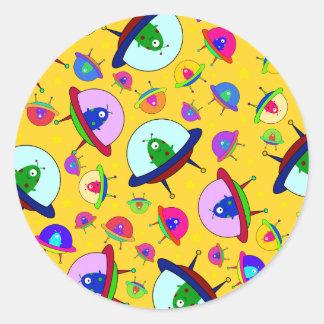 Yellow alien spaceship pattern sticker
