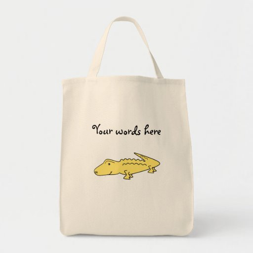 Yellow alligator grocery tote bag