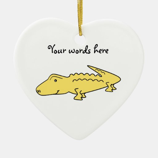 Yellow alligator Double-Sided heart ceramic christmas ornament