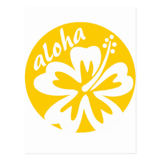 yellow aloha flower postcard