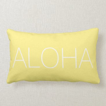 Hawaiian Themed Yellow Aloha Modern Throw Pillow