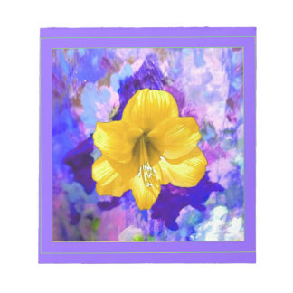 Yellow Amaryllis Flower Lilac Art Notepads