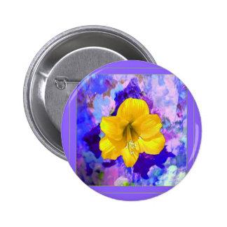 Yellow Amaryllis Flower Lilac Art Pinback Button