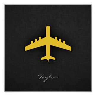 Yellow Amber Airplane Poster
