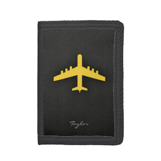 Yellow Amber Airplane Tri-fold Wallets