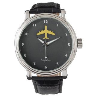 Yellow Amber Airplane Watches