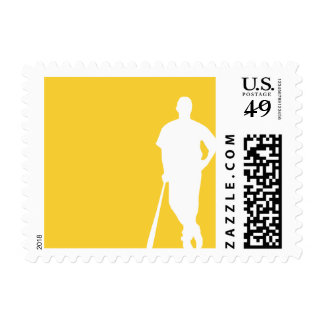 Yellow Amber Baseball Postage Stamp