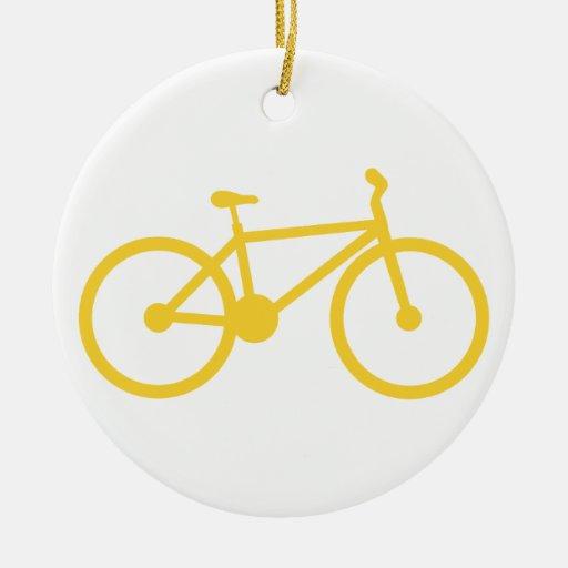 Yellow Amber Bicycle Christmas Ornament