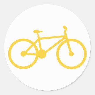 Yellow Amber Bicycle Classic Round Sticker