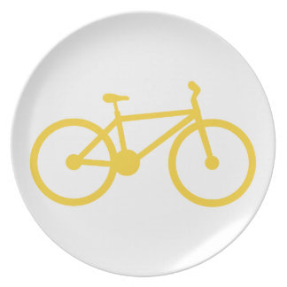 Yellow Amber Bicycle Party Plate