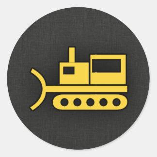 Yellow Amber Bulldozer Classic Round Sticker