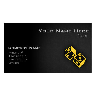 Yellow Amber Casino Dice Double-Sided Standard Business Cards (Pack Of 100)
