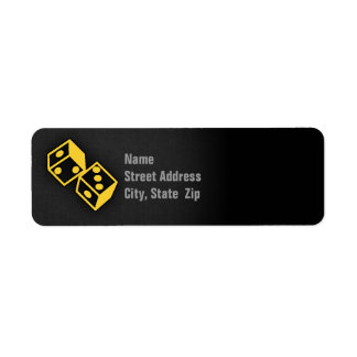 Yellow Amber Casino Dice Return Address Label