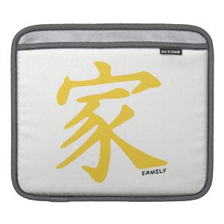 Yellow Amber Chinese Family Symbol iPad Sleeves