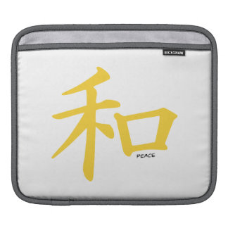 Yellow Amber Chinese Peace Sign iPad Sleeves