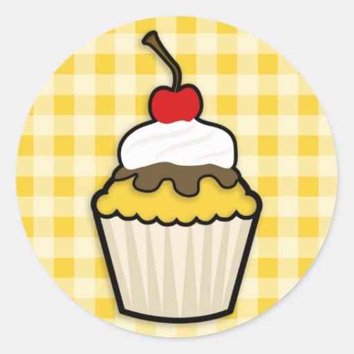 Yellow Amber Cupcake Round Sticker