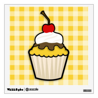 Yellow Amber Cupcake Wall Decals