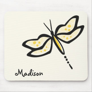 Yellow Amber Dragonfly Mouse Pad