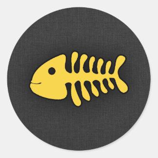 Yellow Amber Fish Bones Classic Round Sticker