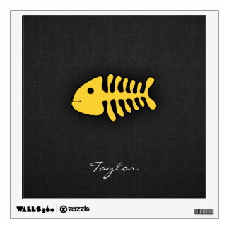 Yellow Amber Fish Bones Wall Sticker