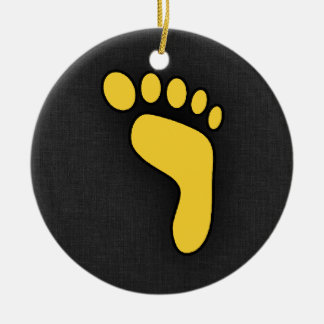 Yellow Amber Footprint Double-Sided Ceramic Round Christmas Ornament