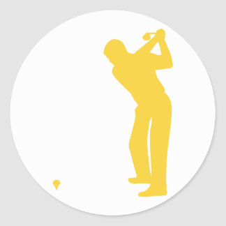 Yellow Amber Golf Classic Round Sticker