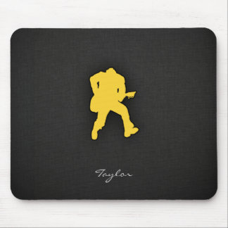 Yellow Amber Guitar Player Mouse Pad