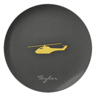 Yellow Amber Helicopter Melamine Plate
