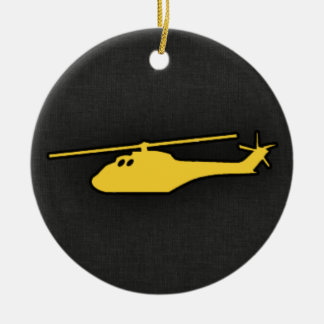 Yellow Amber Helicopter Double-Sided Ceramic Round Christmas Ornament