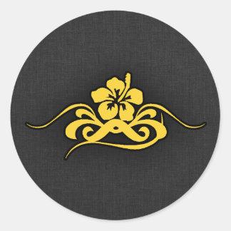 Yellow Amber Hibiscus Classic Round Sticker