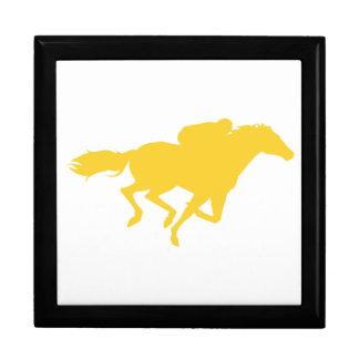 Yellow Amber Horse Racing Trinket Box