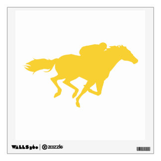 Yellow Amber Horse Racing Wall Sticker