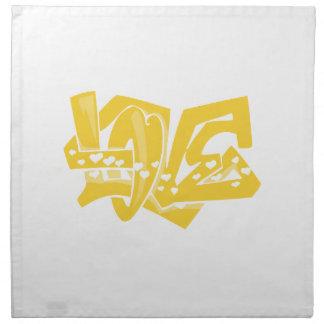 Yellow Amber Love Graffiti Napkin