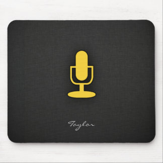 Yellow Amber Microphone Mouse Pad