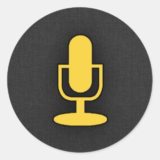 Yellow Amber Microphone Round Sticker