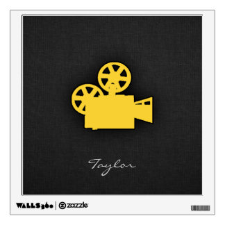 Yellow Amber Movie Camera Wall Sticker