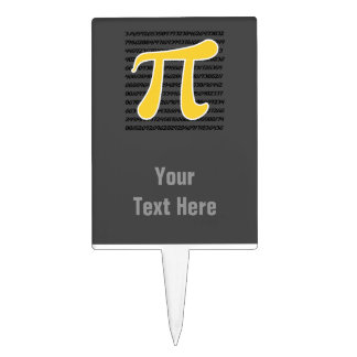 Yellow Amber Pi Symbol Cake Toppers
