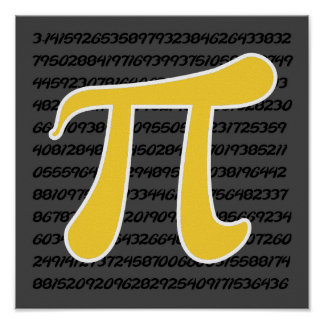 Yellow Amber Pi Symbol Print