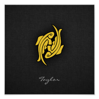 Yellow Amber Pisces Poster