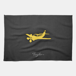 Yellow Amber Plane Kitchen Towels
