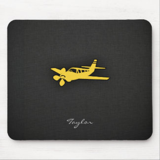 Yellow Amber Plane Mouse Pad