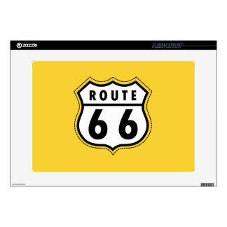"""Yellow Amber Route 66 road sign 15"""" Laptop Skin"""