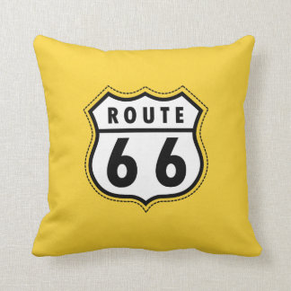 Yellow Amber Route 66 road sign Throw Pillow