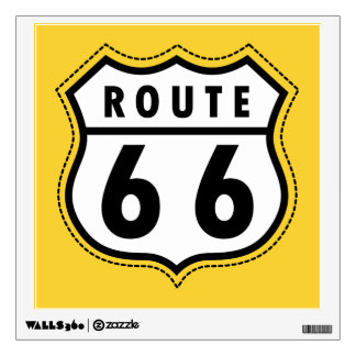 Yellow Amber Route 66 road sign Room Decal
