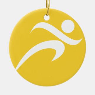 Yellow Amber Running Ceramic Ornament