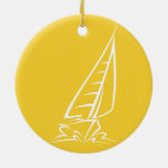 Yellow Amber Sailing Double-Sided Ceramic Round Christmas Ornament