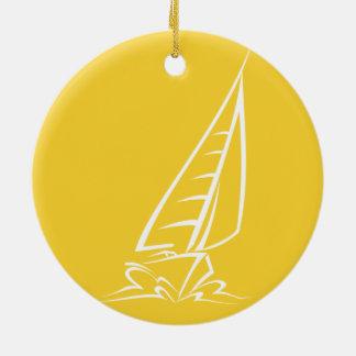 Yellow Amber Sailing Christmas Ornaments