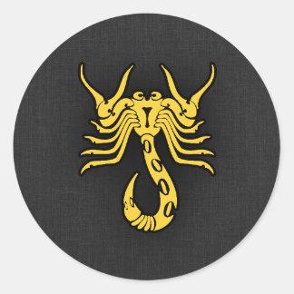 Yellow Amber Scorpio Classic Round Sticker