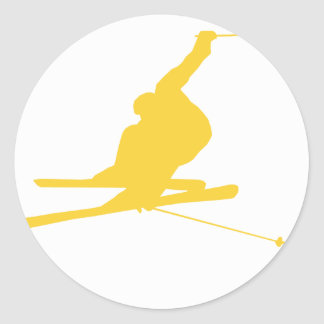 Yellow Amber Snow Ski Classic Round Sticker