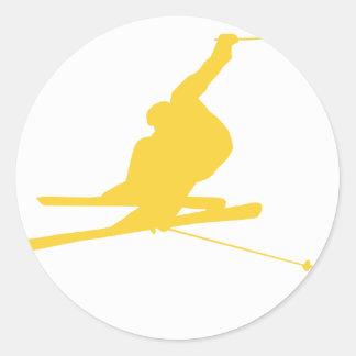 Yellow Amber Snow Ski Classic Round Sticker